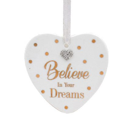 Mad Dots Heart Plaque, Believe in Your Dreams